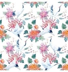Watercolor crane pattern vector
