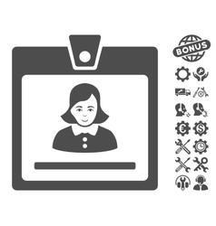 Woman badge icon with tools bonus vector