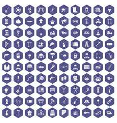 100 tools icons hexagon purple vector