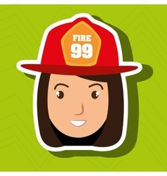 Woman firewoman helmet icon vector