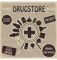 Vintage sign for the drugstores vector image
