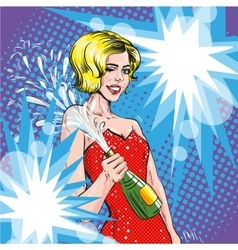 Woman with champagne retro vector