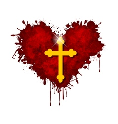 Christian cross in the heart vector