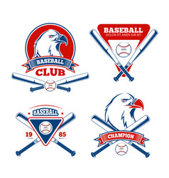 retro baseball sports badges for boys vector image