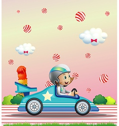 A female racer surrounded with candy balls vector image