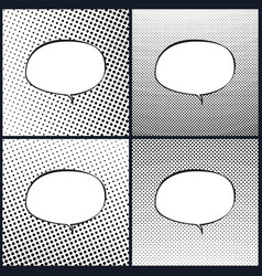 Set of oval retro style speech bubble pop art vector