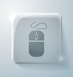 Glass square icon with highlights computer mouse vector