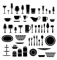 Set of silhouettes of cookware and kitchen vector