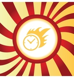 Burning clock abstract icon vector