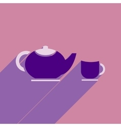 Flat icon with long shadow kettle cup vector