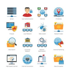 Network and internet flat icons set vector
