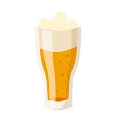 Glass of fresh beer cup with drops and white foam vector