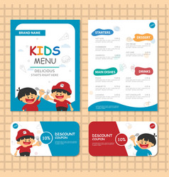 Kids menu templates blue theme vector