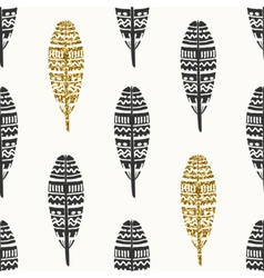 Black gold feathers seamless pattern vector