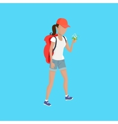 Hiker traveller vector