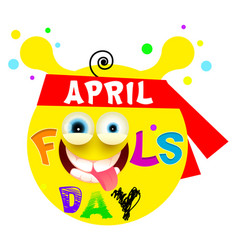 April fools day yellow funny smile vector