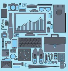 Businessman essentials office workflow equipment vector