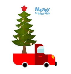 Christmas tree in car truck carries decorated vector