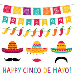 Cinco de mayo sombrero photo booth props vector