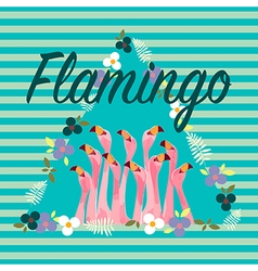Flamingo with Tropical Flowers Background vector image