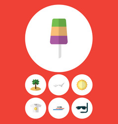 Flat icon summer set of boat coconut scuba vector