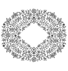 floral hand drawn frame vector image vector image