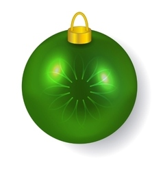Green christmas ball reflecting light new year vector