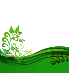 Green floral background design vector image vector image