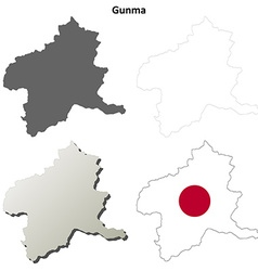 Gunma blank outline map set vector image vector image