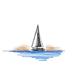 hand drawn sketch with yacht vector image