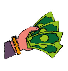 Hand with money bills icon vector
