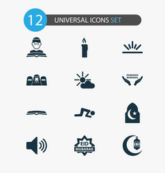 Holiday icons set collection of person mubarak vector