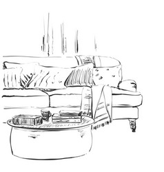 Modern interior room sketch hand drawn sofa and vector