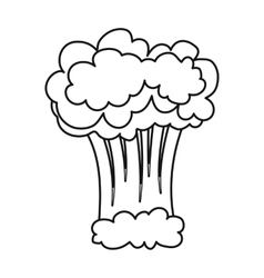 Nuclear explosion icon in outline style isolated vector