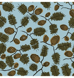 Pattern with fir cone and twig vector