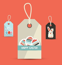 Retro Easter Paper Labels with Rabbit and Eggs vector image