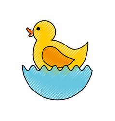 Rubber duck toy icon vector