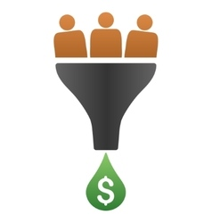 Sales funnel gradient icon vector
