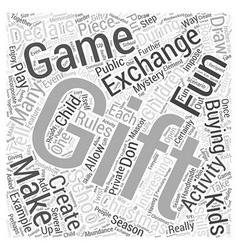 School christmas gift exchange games word cloud vector