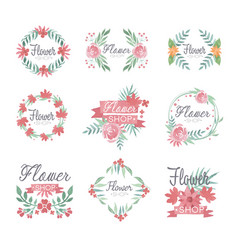 set of flower shop logo design colorful vector image vector image