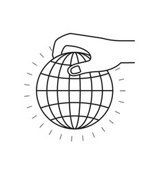 Silhouette side view of hand holding a globe chart vector