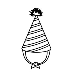 Sketch contour of party hat with lines decoratives vector