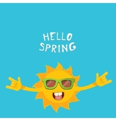 Sun hand rock n roll icon spring vector