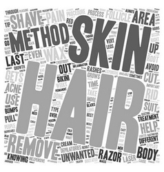 The different methods of hair removal text vector