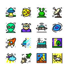 thin line ufo icons set vector image