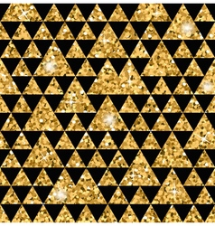 Triangle seamless pattern black and gold 1 vector image
