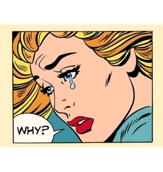 Why girl crying vector image vector image