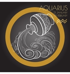 Zodiac sign Aquarius on black background vector image vector image
