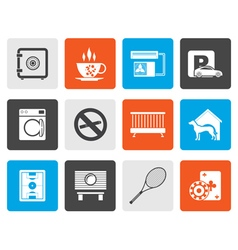 Flat hotel and motel amenity icons vector