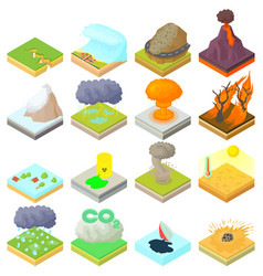 Natural disaster icons set isometric 3d style vector